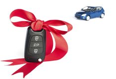 Gift car concept with red Bow Royalty Free Stock Images