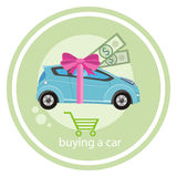 Gift car and red ribbon Stock Images