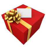 Gift with card. 3d illustration of gift with blank card Stock Photo