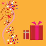 Gift card. With two fancy boxes Royalty Free Stock Photography