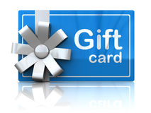 Gift card. 3d illustration of gift plastic card with white ribbon Stock Image