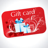 Gift card. Red gift card with presents boxes Royalty Free Stock Photo