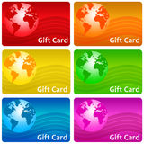 Gift card. S in several colors (copy space provided in top right corner Stock Photos