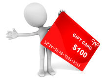 Gift card. A $100 gift card with a little 3d man, red card against white background, concept of a convenient gift through cards in various denomination Stock Photos