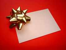 Gift card. In red background stock photos