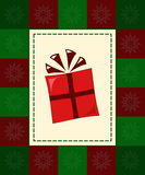 Gift card. Funky gift surrounded by red and green checkered border with snowflakes Stock Photography