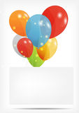 Gift card with balloons vector illustration Stock Photography