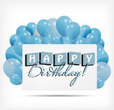 Gift card with balloons vector illustration Stock Photo