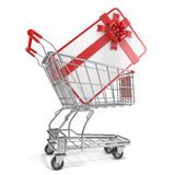 Gift card with blank space for text and shopping cart. 3D Stock Photos