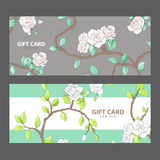 Gift card with blooming roses Stock Photo