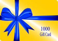 Gift card with blue ribbon Stock Photos