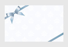 Gift Card With Blue Ribbon And A Bow Royalty Free Stock Image
