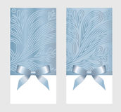 Gift Card With Blue Ribbon And A Bow Stock Image