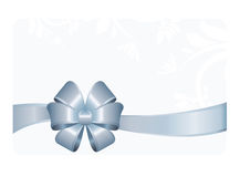 Gift Card With Blue Ribbon And A Bow Stock Images