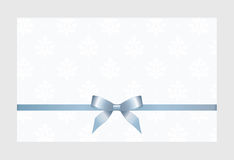 Gift Card With Blue Ribbon And A Bow Royalty Free Stock Photo