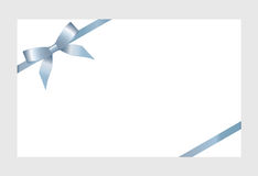 Gift Card With Blue Ribbon And A Bow Stock Photos