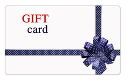 Gift card with blue ribbons and bow Stock Image