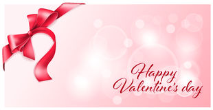 Gift card with bow. For valentines day Royalty Free Stock Photography