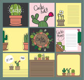 Gift card cactus set Royalty Free Stock Photos