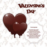 Gift card with chocolate melting hearts, Valentine`s Day inscription and white circular tag for the text on a white background Stock Photos