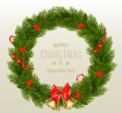 Gift card with Christmas Wreath and Bow. Stock Photography