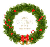 Gift card with Christmas Wreath and Bow. vector illustration
