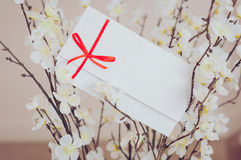 Gift card - closeup of a sign card. Gift card - closeup of a white card tied with a red ribbon Stock Photos