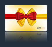 Gift card with colorful bow. Gift card with red and yellow ribbon and bow. Vector illustration royalty free illustration
