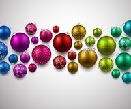 Gift card with colorful christmas balls. Stock Images