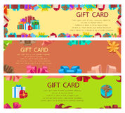 Gift Card Colourful Poster with Frames and Boxes. Gift card colourful poster with present boxes, ribbons with bows. Vector set of festive cards with text Royalty Free Stock Photography