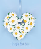 GIFT CARD WITH COPY SPACE AND FLOWER BOUQUET OF LOVE HEART SHAPE. Royalty Free Stock Photo