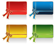 Gift Card Design. Set of Red, Blue, Gold and Green Gift Card stock illustration
