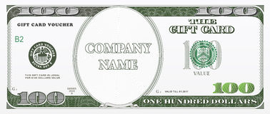 Gift card design as hundred dollars bill Stock Image