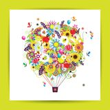 Gift card design with floral air balloon Royalty Free Stock Photo