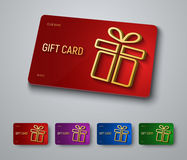 Gift card design with a gold 3D box with a shadow Royalty Free Stock Images