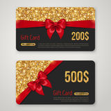 Gift Card Design with Gold Glitter Texture Stock Image