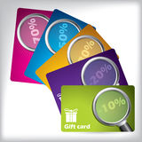 Gift card design with magnifiers Stock Images