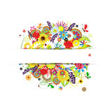 Gift card design with summer floral bouquet Stock Photos