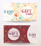 Gift card design with value Stock Images