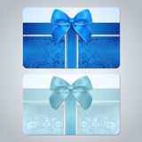 Gift card / Discount card. Scroll pattern, Bow stock photo
