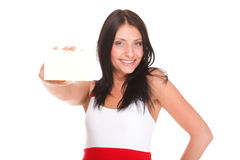 Gift card. Excited woman showing empty blank paper card sign. Female model isolated Royalty Free Stock Photography
