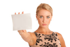 Gift card. Excited woman showing empty blank paper card sign wit Royalty Free Stock Photos