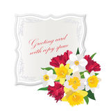 Gift card with Flower bouquet. Stock Photos