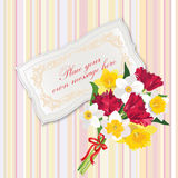 Gift card with Flower bouquet. Royalty Free Stock Image