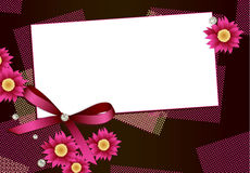 Gift card with flowers,diamonds and ribbon Stock Image