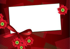 Gift card with flowers and ribbon Stock Images