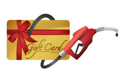 Gift card with a gas pump nozzle. Illustration design over a white background Royalty Free Stock Image