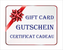 Gift card in German, English and French Royalty Free Stock Images