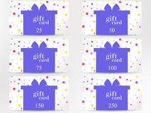 Gift card with a gift box on a background of colorful circles. Festive discount card. Vector Royalty Free Stock Photo