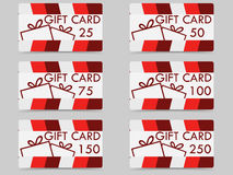 Gift card with a gift box. Set of vector illustrations. Stock Photos